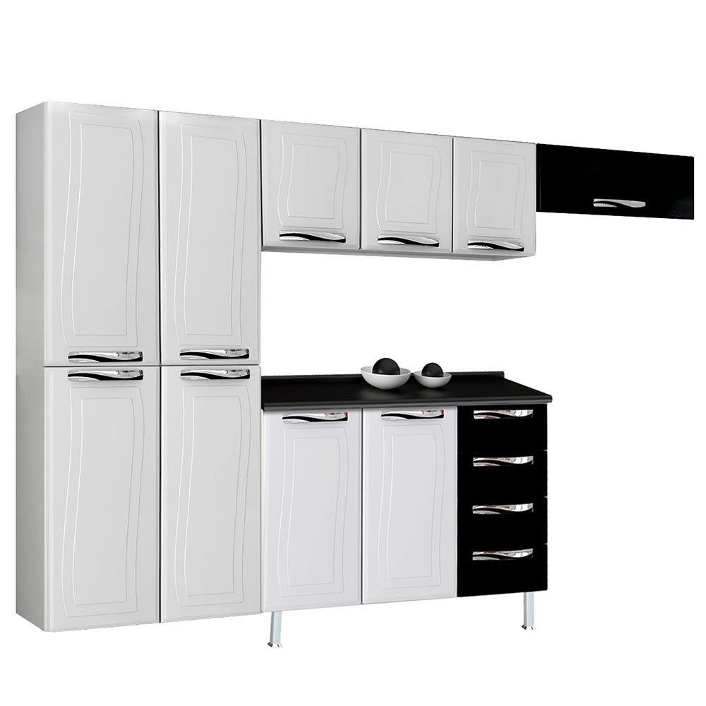 Cozinha Completa Ipanema Top Em A O 10 Portas 4 Gavetas Branco Preto